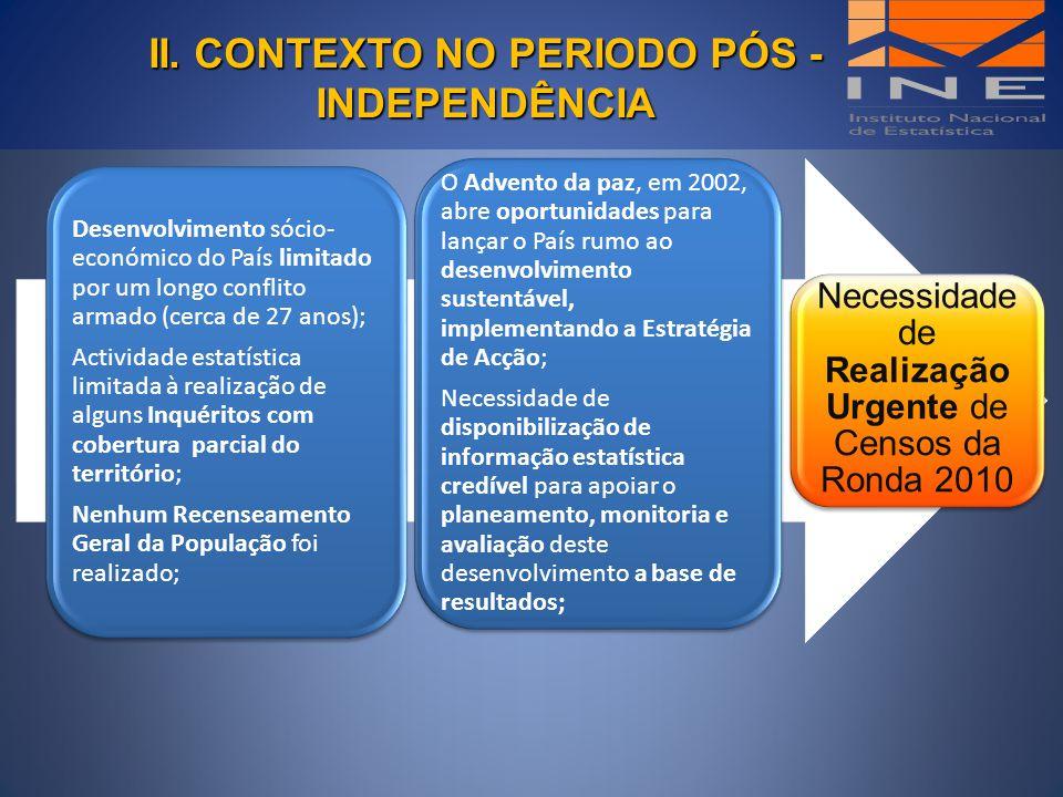 II. CONTEXTO NO PERIODO PÓS - INDEPENDÊNCIA II. CONTEXTO NO PERIODO PÓS - INDEPENDÊNCIA Necessidade de Realização Urgente de Censos da Ronda 2010 Dese