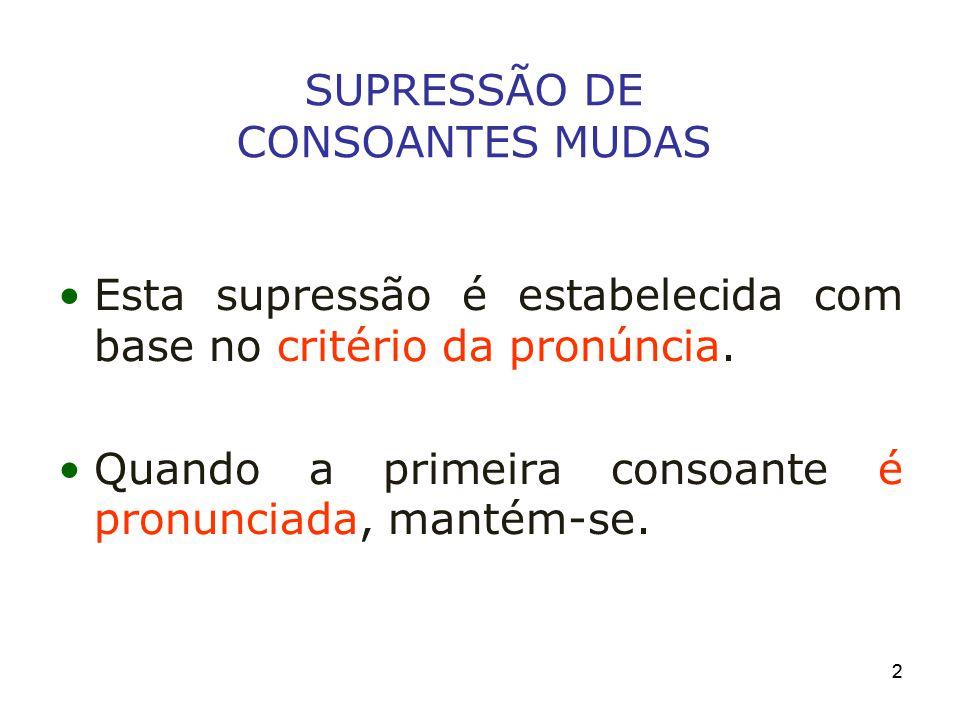22 SUPRESSÃO DE CONSOANTES MUDAS Esta supressão é estabelecida com base no critério da pronúncia. Quando a primeira consoante é pronunciada, mantém-se
