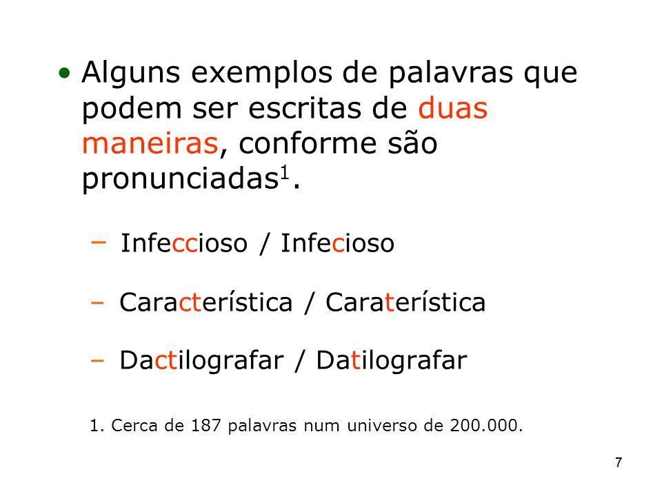 77 Alguns exemplos de palavras que podem ser escritas de duas maneiras, conforme são pronunciadas 1. – Infeccioso / Infecioso – Característica / Carat