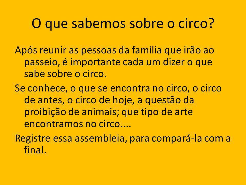 O que sabemos sobre o circo.