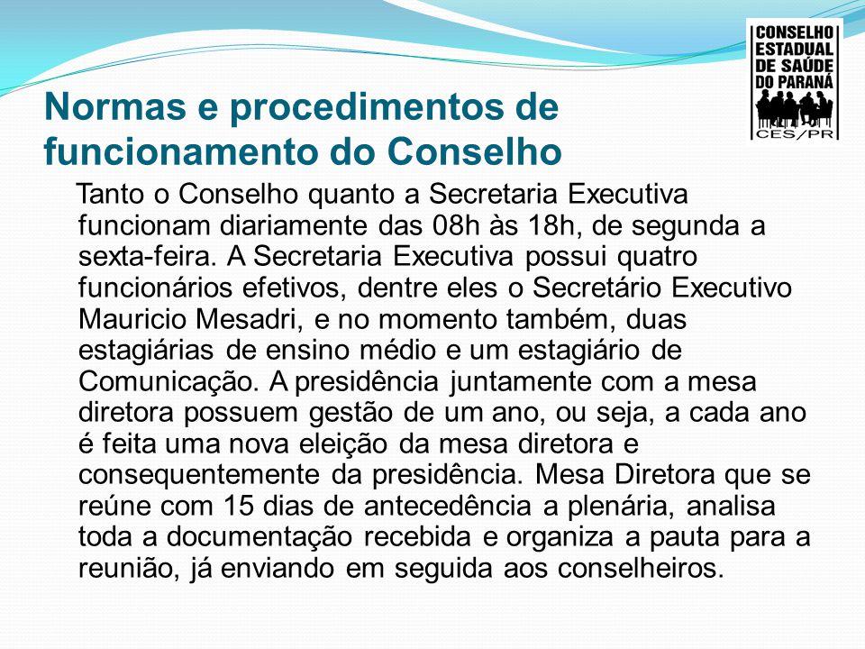 Normas e procedimentos de funcionamento do Conselho Tanto o Conselho quanto a Secretaria Executiva funcionam diariamente das 08h às 18h, de segunda a