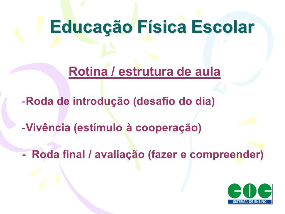 Rotina / estrutura de aula -Roda de introdução (desafio do dia) -Vivência (estímulo à cooperação) - Roda final / avaliação (fazer e compreender) Educa