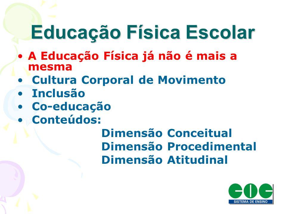 Educação Física Escolar A Educação Física já não é mais a mesma Cultura Corporal de Movimento Inclusão Co-educação Conteúdos: Dimensão Conceitual Dime