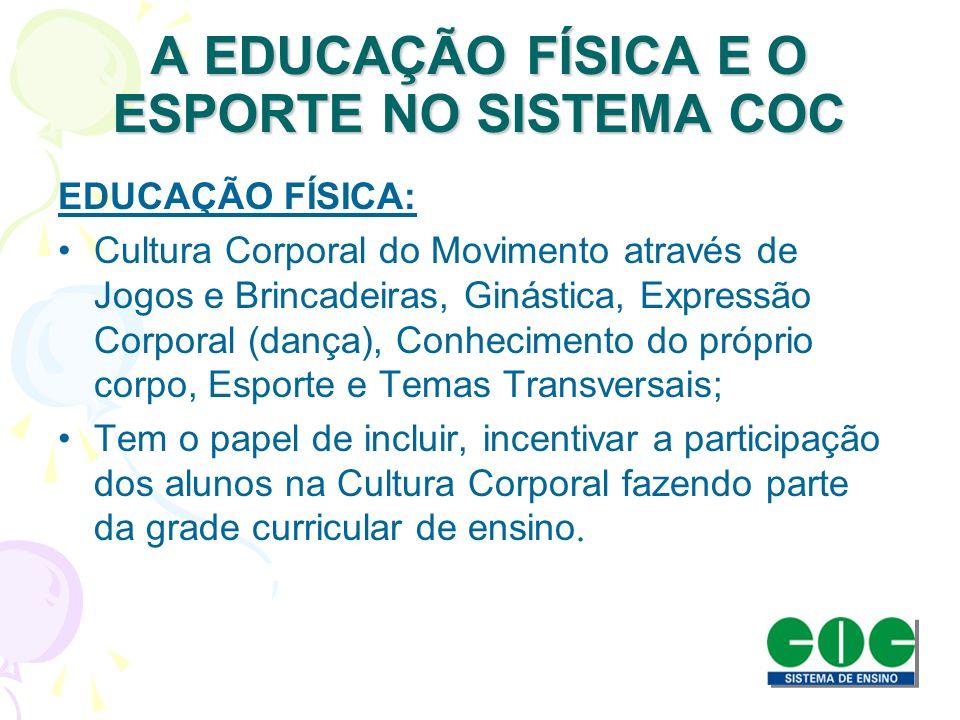 A EDUCAÇÃO FÍSICA E O ESPORTE NO SISTEMA COC EDUCAÇÃO FÍSICA: Cultura Corporal do Movimento através de Jogos e Brincadeiras, Ginástica, Expressão Corp