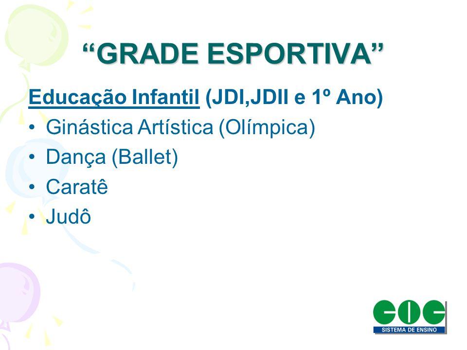 GRADE ESPORTIVA Educação Infantil (JDI,JDII e 1º Ano) Ginástica Artística (Olímpica) Dança (Ballet) Caratê Judô