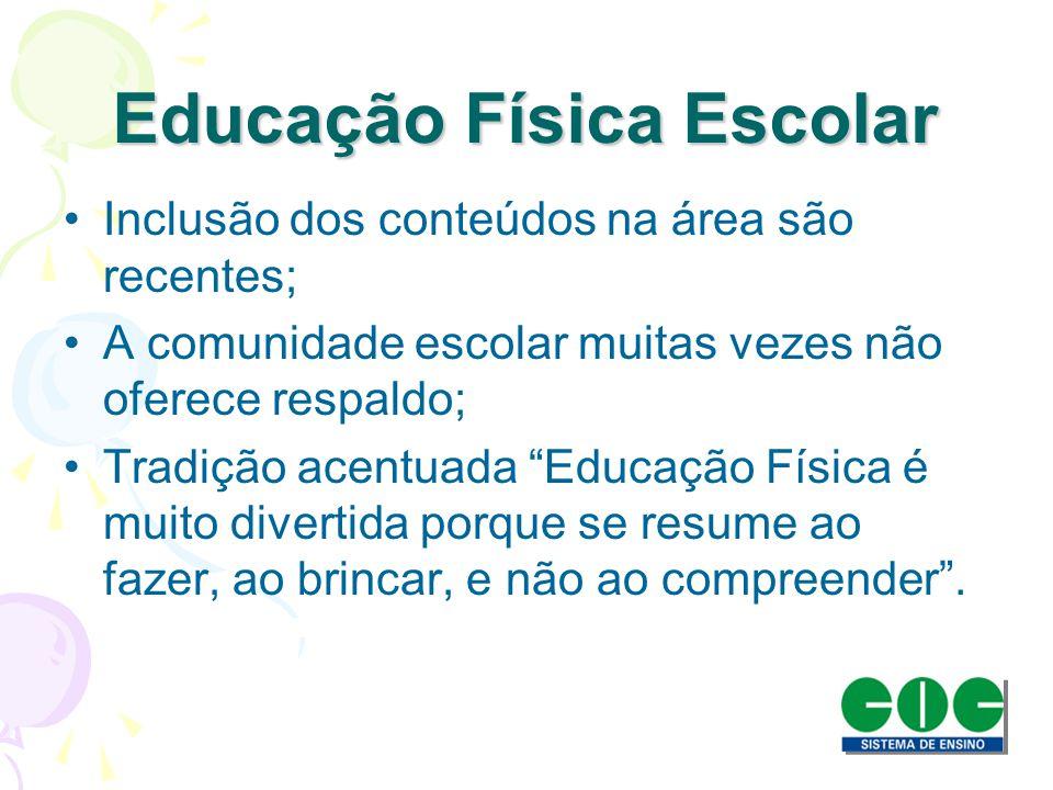 Educação Física Escolar Inclusão dos conteúdos na área são recentes; A comunidade escolar muitas vezes não oferece respaldo; Tradição acentuada Educaç