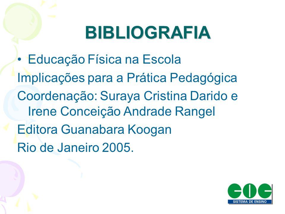 BIBLIOGRAFIA BIBLIOGRAFIA Educação Física na Escola Implicações para a Prática Pedagógica Coordenação: Suraya Cristina Darido e Irene Conceição Andrad