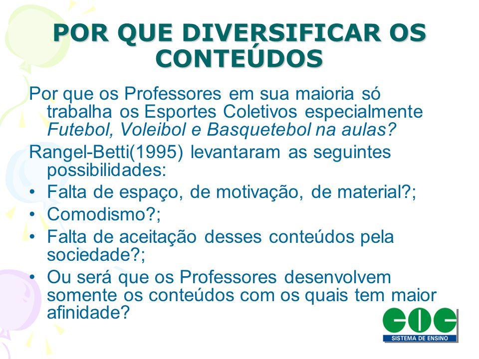 POR QUE DIVERSIFICAR OS CONTEÚDOS Por que os Professores em sua maioria só trabalha os Esportes Coletivos especialmente Futebol, Voleibol e Basquetebo