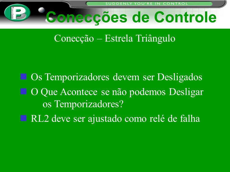 Conecções de Controle n Os Temporizadores devem ser Desligados n O Que Acontece se não podemos Desligar os Temporizadores? RL2 deve ser ajustado como