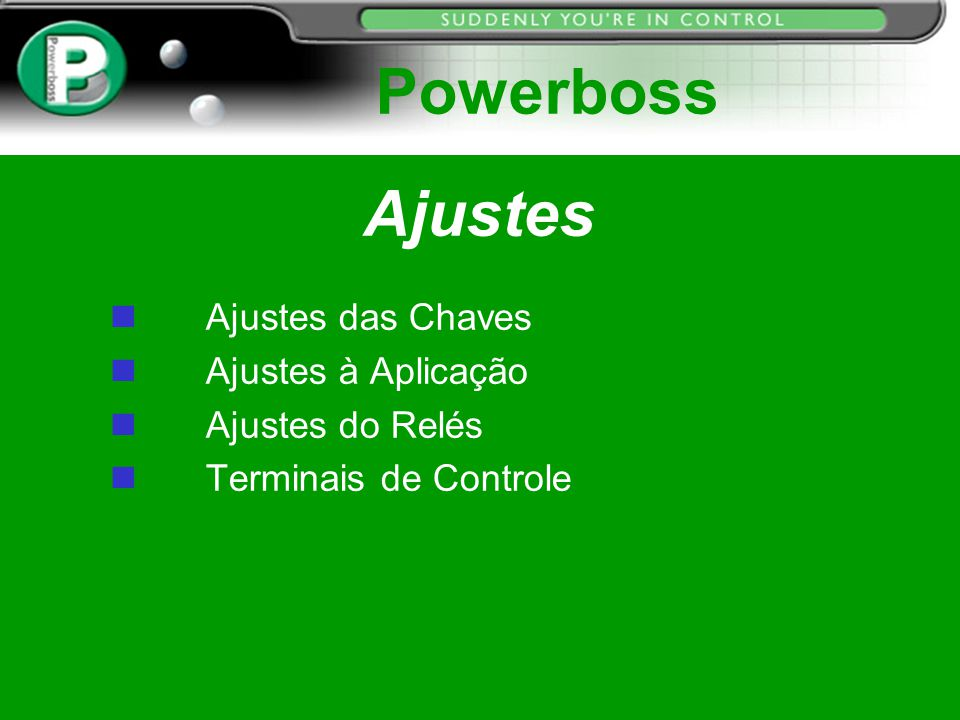 Ajustes Ajustes das Chaves n Ajustes à Aplicação n Ajustes do Relés Terminais de Controle Powerboss