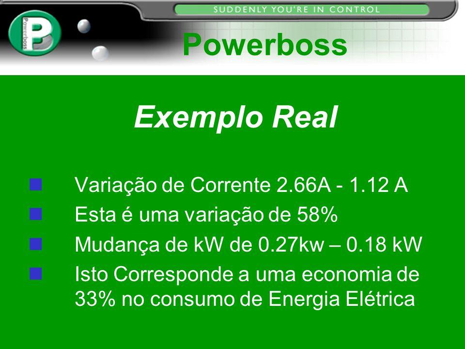 Exemplo Real n Variação de Corrente 2.66A - 1.12 A n Esta é uma variação de 58% n Mudança de kW de 0.27kw – 0.18 kW n Isto Corresponde a uma economia