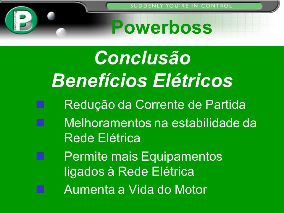 Conclusão Benefícios Elétricos Redução da Corrente de Partida n Melhoramentos na estabilidade da Rede Elétrica n Permite mais Equipamentos ligados à R