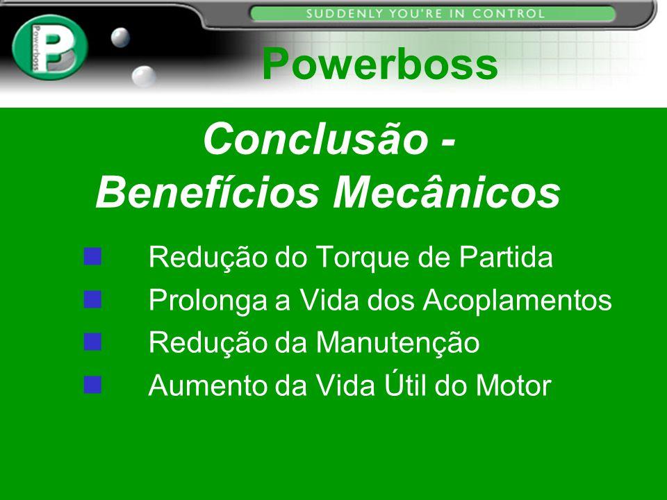 Conclusão - Benefícios Mecânicos Redução do Torque de Partida n Prolonga a Vida dos Acoplamentos n Redução da Manutenção Aumento da Vida Útil do Motor