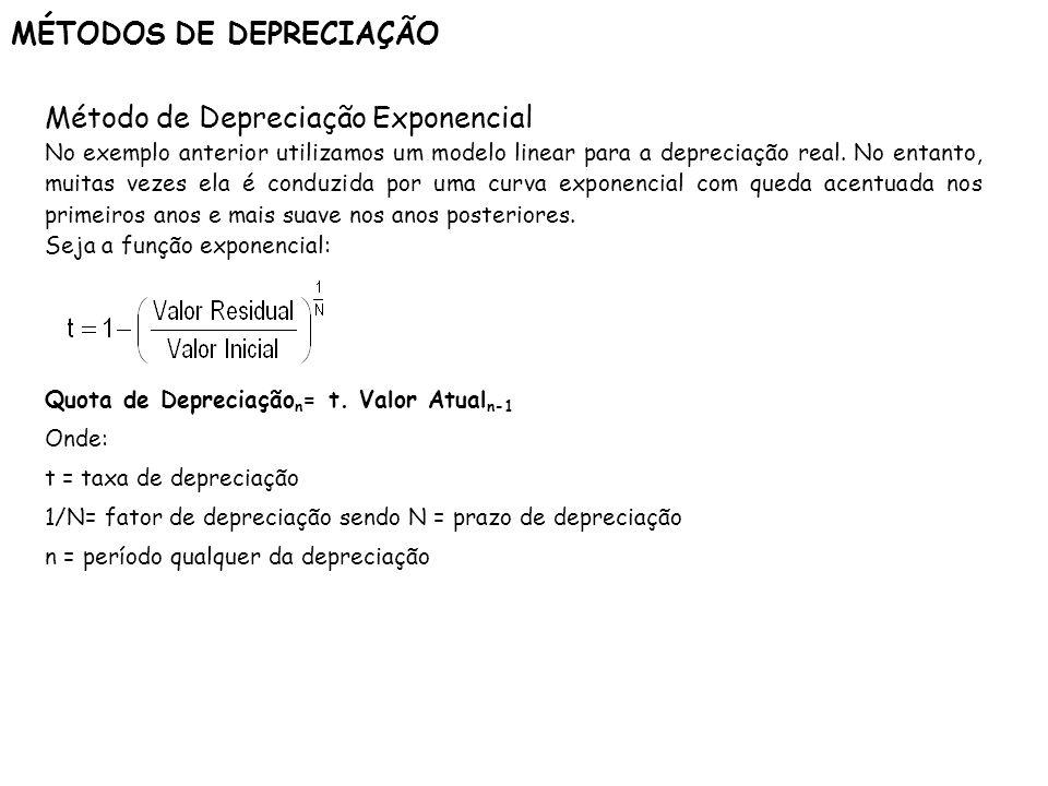 MÉTODOS DE DEPRECIAÇÃO Método de Depreciação Exponencial No exemplo anterior utilizamos um modelo linear para a depreciação real. No entanto, muitas v