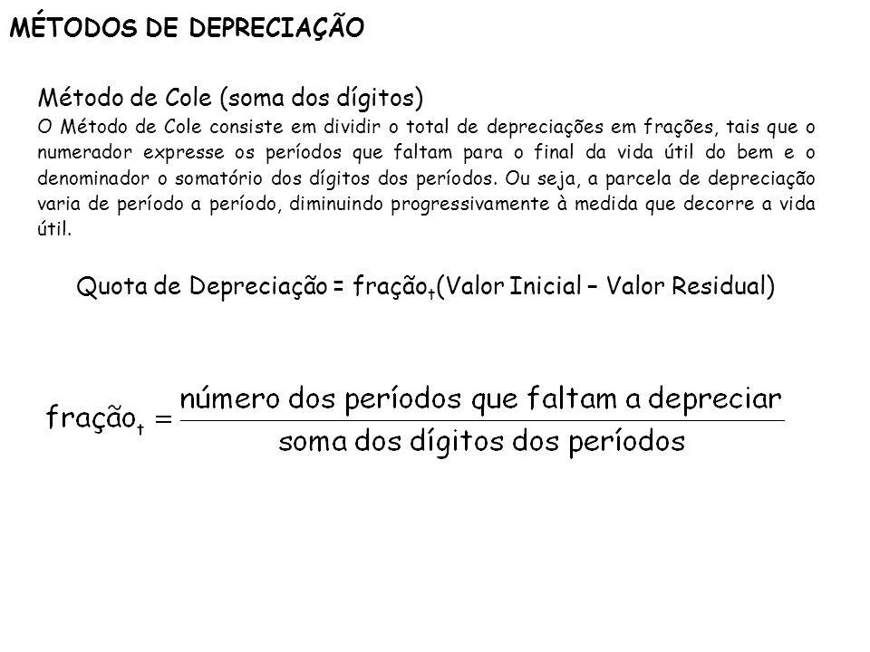 MÉTODOS DE DEPRECIAÇÃO Método de Cole (soma dos dígitos) O Método de Cole consiste em dividir o total de depreciações em frações, tais que o numerador