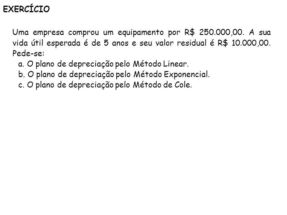 EXERCÍCIO Uma empresa comprou um equipamento por R$ 250.000,00. A sua vida útil esperada é de 5 anos e seu valor residual é R$ 10.000,00. Pede-se: a.
