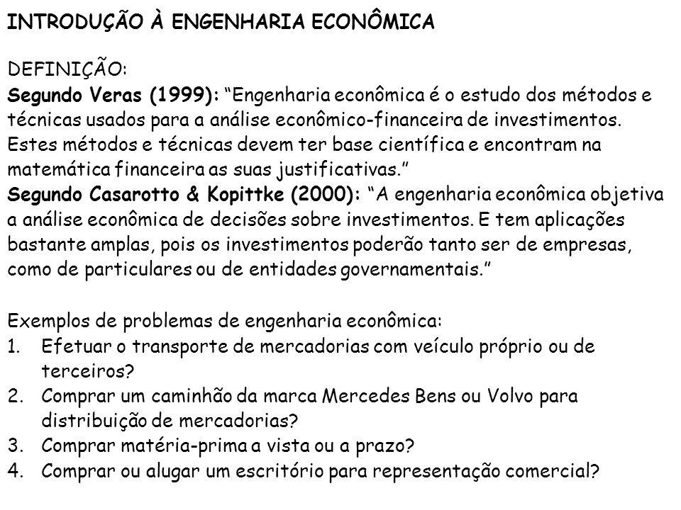 INTRODUÇÃO À ENGENHARIA ECONÔMICA DEFINIÇÃO: Segundo Veras (1999): Engenharia econômica é o estudo dos métodos e técnicas usados para a análise econôm