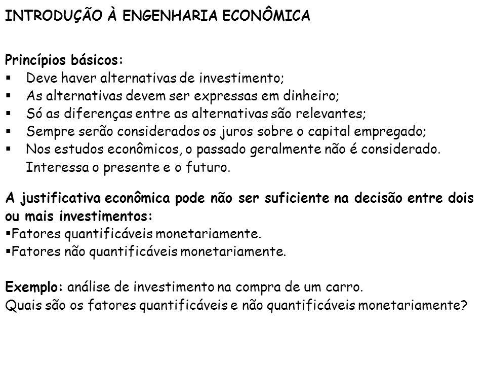 INTRODUÇÃO À ENGENHARIA ECONÔMICA Princípios básicos: Deve haver alternativas de investimento; As alternativas devem ser expressas em dinheiro; Só as