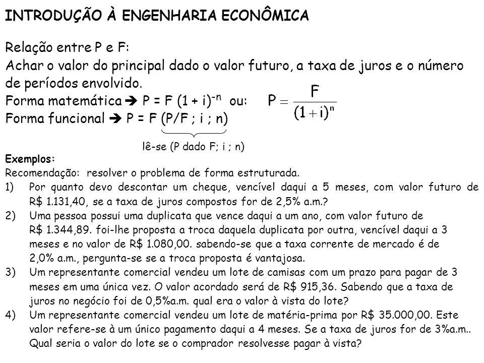 INTRODUÇÃO À ENGENHARIA ECONÔMICA Relação entre P e F: Achar o valor do principal dado o valor futuro, a taxa de juros e o número de períodos envolvid