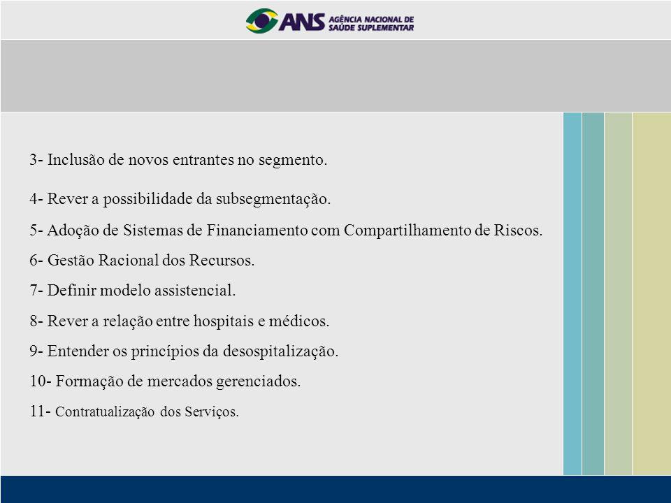 3- Inclusão de novos entrantes no segmento. 4- Rever a possibilidade da subsegmentação. 5- Adoção de Sistemas de Financiamento com Compartilhamento de