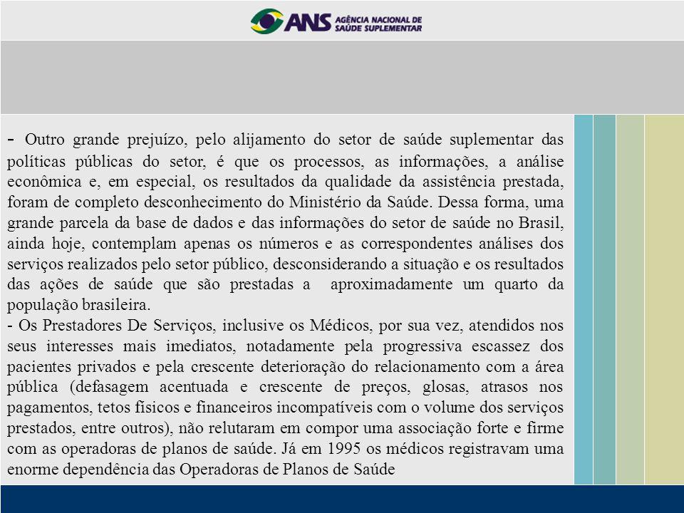 - Outro grande prejuízo, pelo alijamento do setor de saúde suplementar das políticas públicas do setor, é que os processos, as informações, a análise