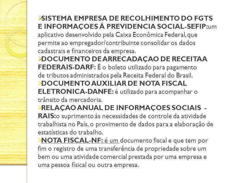 SISTEMA EMPRESA DE RECOLHIMENTO DO FGTS E INFORMAÇOES Á PREVIDENCIA SOCIAL-SEFIP:um aplicativo desenvolvido pela Caixa Econômica Federal, que permite