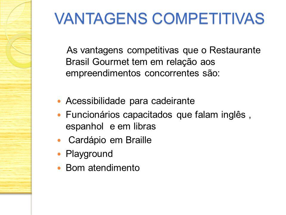 As vantagens competitivas que o Restaurante Brasil Gourmet tem em relação aos empreendimentos concorrentes são: Acessibilidade para cadeirante Funcion