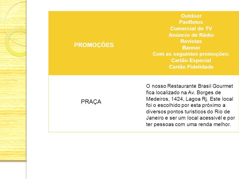 PROMOÇÕES Outdoor Panfletos Comercial de TV Anúncio de Rádio Revistas Banner Com as seguintes promoções: Cartão Especial Cartão Fidelidade PRAÇA O nos