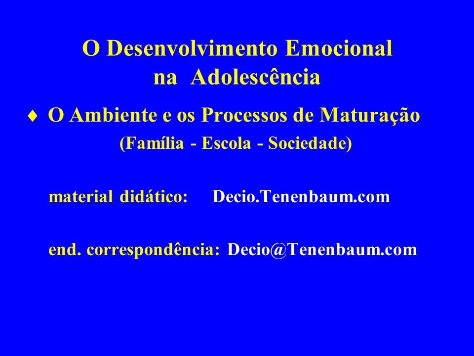 O Desenvolvimento Emocional na Adolescência O Ambiente e os Processos de Maturação (Família - Escola - Sociedade) material didático: Decio.Tenenbaum.c