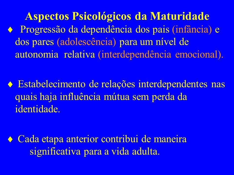 Aspectos Psicológicos da Maturidade Progressão da dependência dos pais (infância) e dos pares (adolescência) para um nível de autonomia relativa (inte