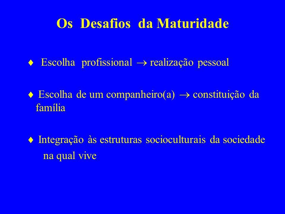 Os Desafios da Maturidade Escolha profissional realização pessoal Escolha de um companheiro(a) constituição da família Integração às estruturas socioc