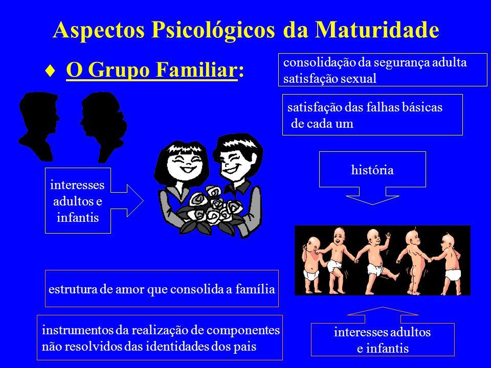 Aspectos Psicológicos da Maturidade O Grupo Familiar: interesses adultos e infantis interesses adultos e infantis consolidação da segurança adulta sat