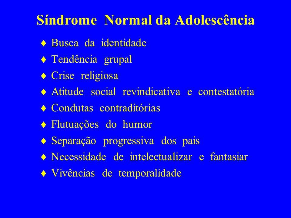 Síndrome Normal da Adolescência Busca da identidade Tendência grupal Crise religiosa Atitude social revindicativa e contestatória Condutas contraditór