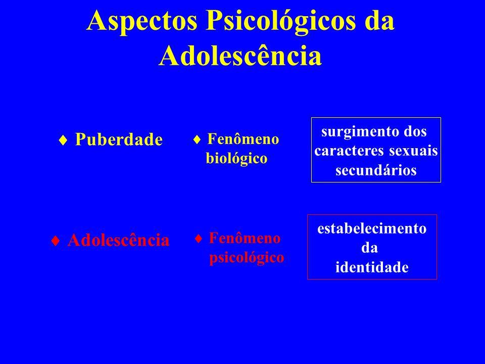 Aspectos Psicológicos da Adolescência Puberdade Adolescência Fenômeno biológico surgimento dos caracteres sexuais secundários estabelecimento da ident