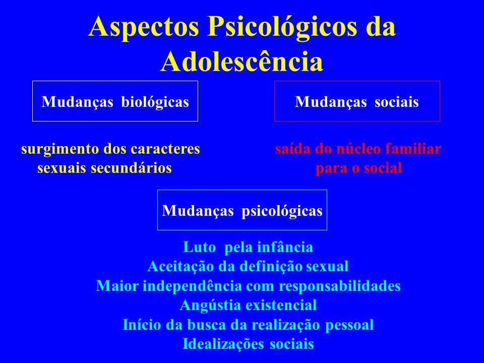 Aspectos Psicológicos da Adolescência Mudanças biológicasMudanças sociais Mudanças psicológicas surgimento dos caracteres sexuais secundários saída do