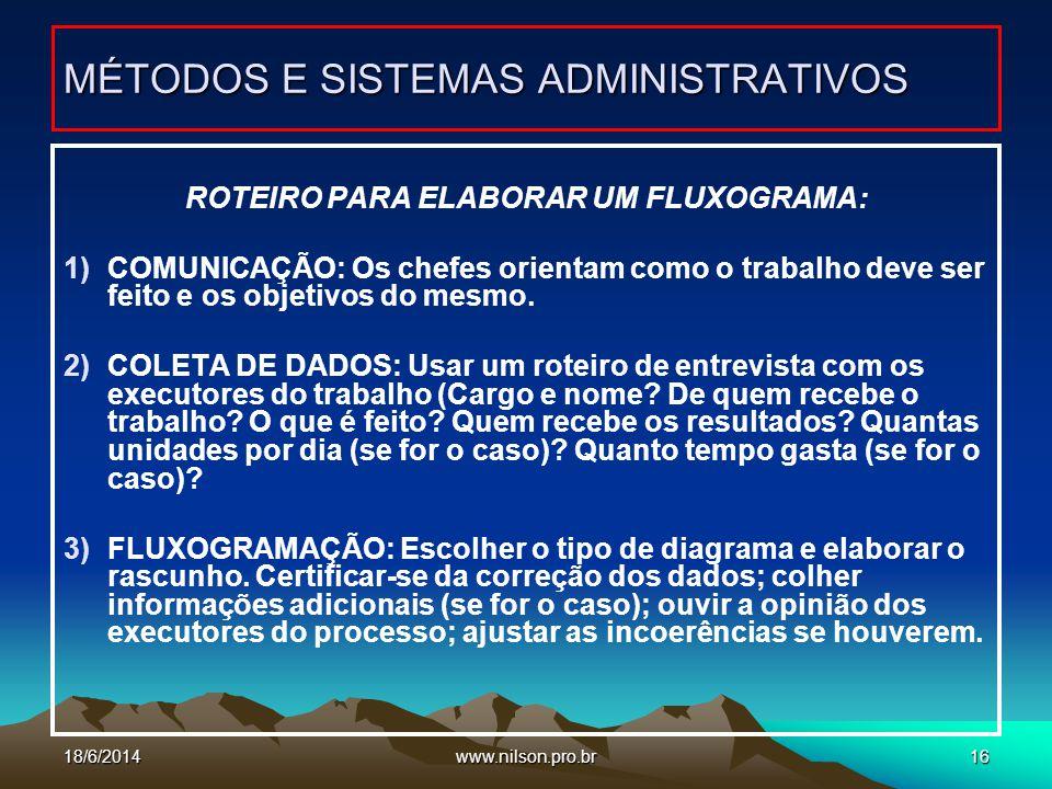 www.nilson.pro.br16 ROTEIRO PARA ELABORAR UM FLUXOGRAMA: 1)COMUNICAÇÃO: Os chefes orientam como o trabalho deve ser feito e os objetivos do mesmo. 2)C