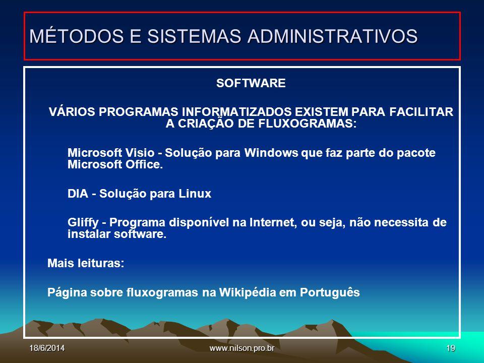 www.nilson.pro.br19 SOFTWARE VÁRIOS PROGRAMAS INFORMATIZADOS EXISTEM PARA FACILITAR A CRIAÇÃO DE FLUXOGRAMAS: Microsoft Visio - Solução para Windows q