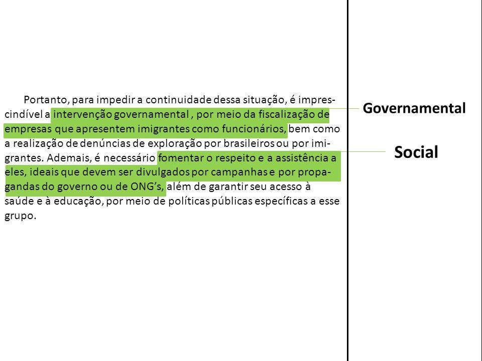 Social Governamental Portanto, para impedir a continuidade dessa situação, é impres- cindível a intervenção governamental, por meio da fiscalização de