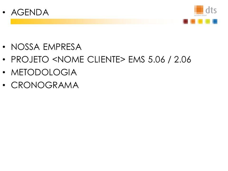 IMAGEM NOSSA EMPRESA PROJETO EMS 5.06 / 2.06 METODOLOGIA CRONOGRAMA AGENDA
