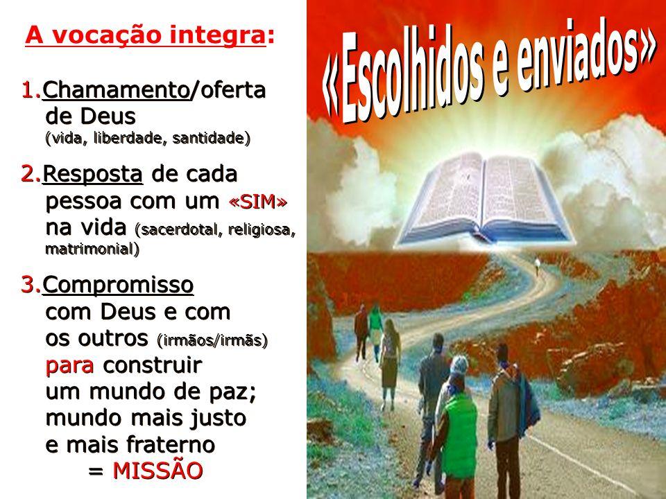 1.Chamamento/oferta de Deus (vida, liberdade, santidade) 2.Resposta de cada pessoa com um «SIM» na vida (sacerdotal, religiosa, matrimonial) 3.Comprom