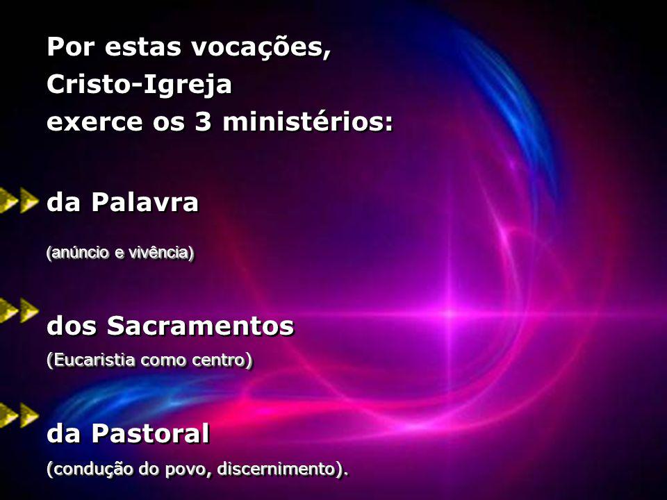 Por estas vocações, Cristo-Igreja exerce os 3 ministérios: da Palavra (anúncio e vivência) (Eucaristia como centro) dos Sacramentos (Eucaristia como c
