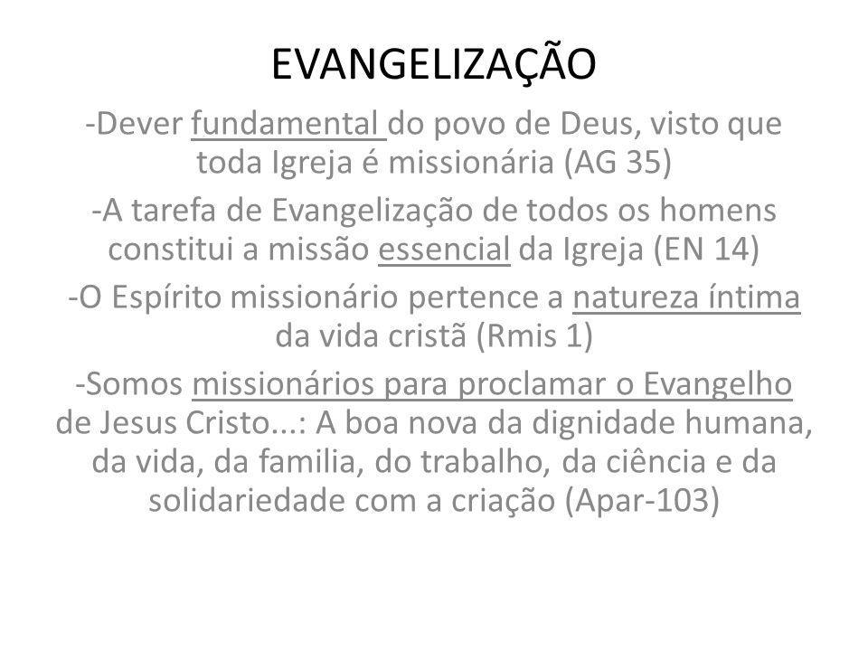 EVANGELIZAÇÃO -Dever fundamental do povo de Deus, visto que toda Igreja é missionária (AG 35) -A tarefa de Evangelização de todos os homens constitui
