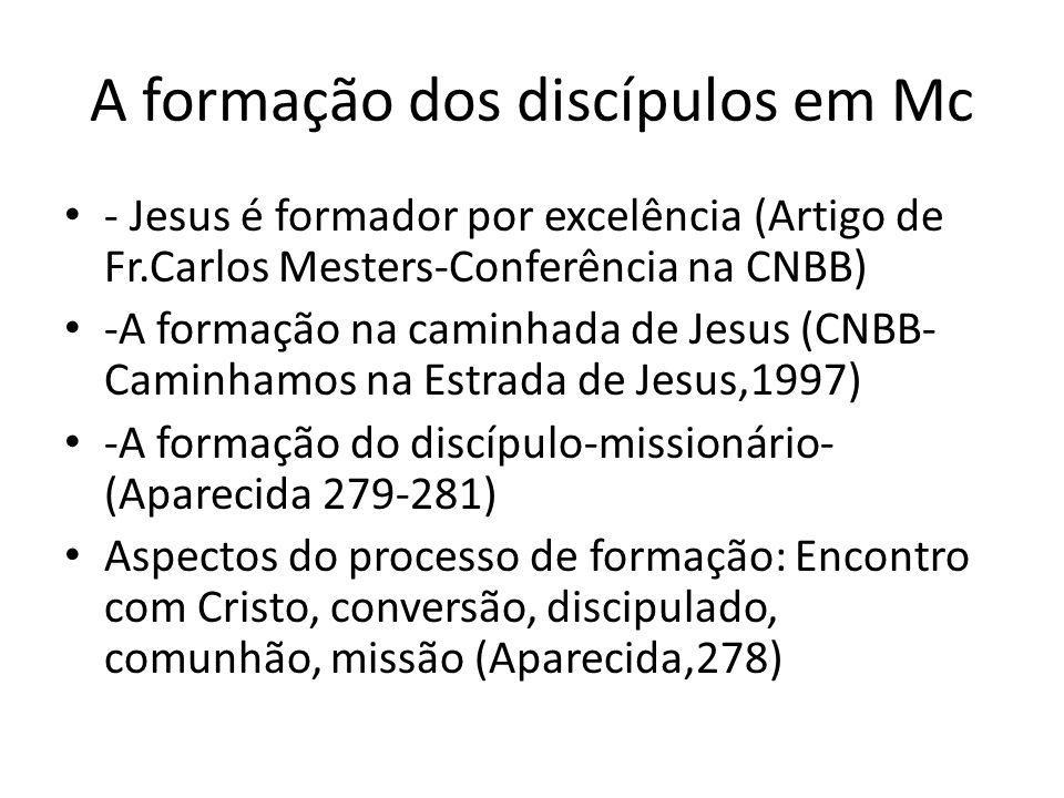 A formação dos discípulos em Mc - Jesus é formador por excelência (Artigo de Fr.Carlos Mesters-Conferência na CNBB) -A formação na caminhada de Jesus