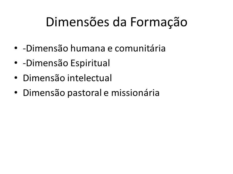 Dimensões da Formação -Dimensão humana e comunitária -Dimensão Espiritual Dimensão intelectual Dimensão pastoral e missionária