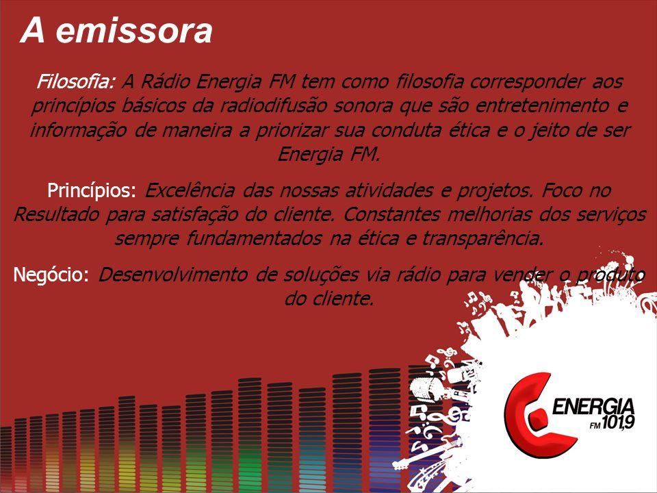 A emissora Filosofia: A Rádio Energia FM tem como filosofia corresponder aos princípios básicos da radiodifusão sonora que são entretenimento e informação de maneira a priorizar sua conduta ética e o jeito de ser Energia FM.