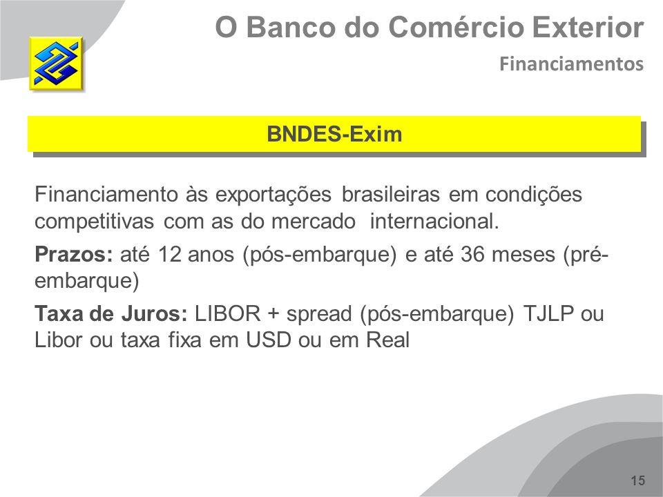 15 BNDES-Exim O Banco do Comércio Exterior Financiamentos Financiamento às exportações brasileiras em condições competitivas com as do mercado interna
