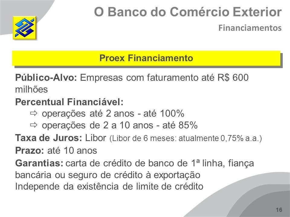 16 Proex Financiamento O Banco do Comércio Exterior Financiamentos Público-Alvo: Empresas com faturamento até R$ 600 milhões Percentual Financiável: o