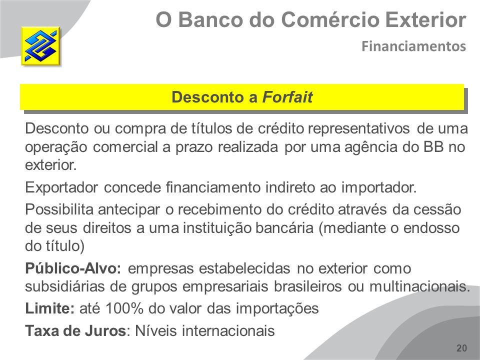 20 Desconto ou compra de títulos de crédito representativos de uma operação comercial a prazo realizada por uma agência do BB no exterior. Exportador