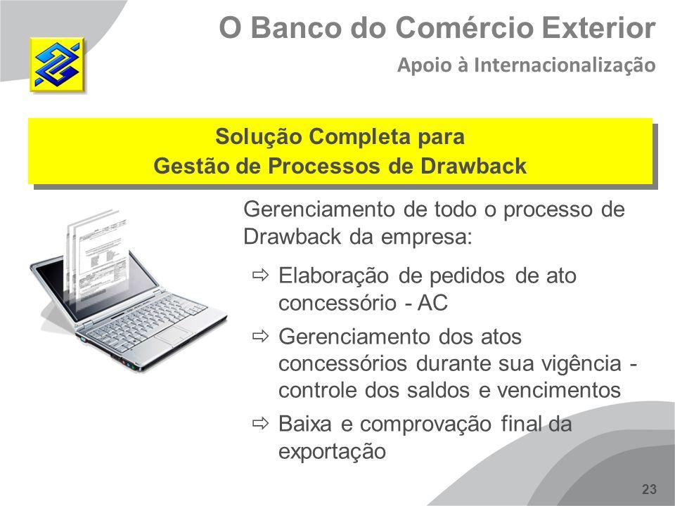 23 O Banco do Comércio Exterior Apoio à Internacionalização Gerenciamento de todo o processo de Drawback da empresa: Solução Completa para Gestão de P