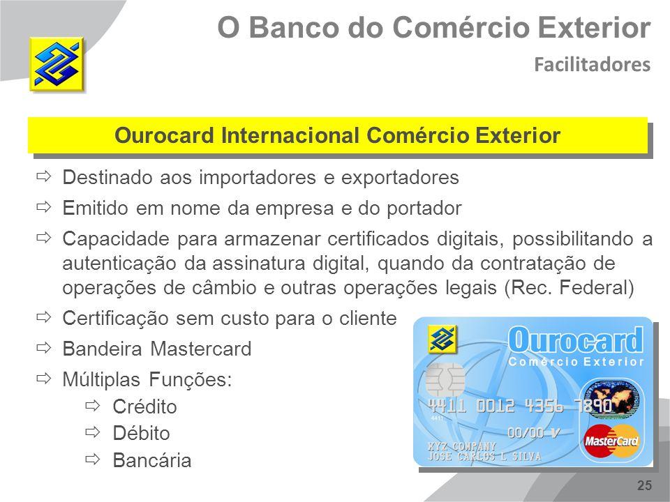 25 Destinado aos importadores e exportadores Emitido em nome da empresa e do portador Capacidade para armazenar certificados digitais, possibilitando